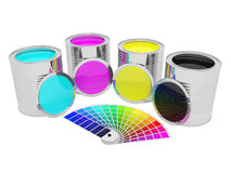有颜色油漆和pantone的罐头 皇族释放例证