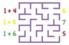 有颜色的迷宫为在白色背景的孩子编号 查找 皇族释放例证