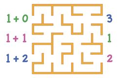 有颜色的迷宫为在白色背景的孩子编号 查找 向量例证
