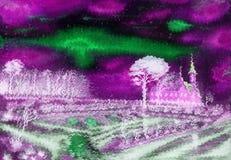 有风冬天夜 大教堂和一个小正方形 库存照片