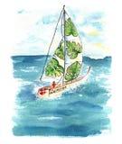 有风帆的水彩小船在海 库存照片