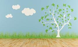 有风格化树和云彩的空的儿童居室 免版税库存照片