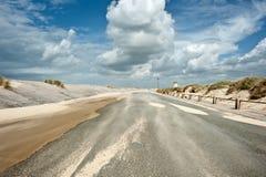 有风沿海的路 免版税库存图片