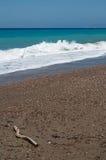 有风爱琴海的海岸 图库摄影