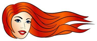 有风的可笑的样式妇女在她的头发 皇族释放例证