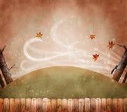 有风的秋天叶子 免版税库存照片