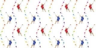有风筝无缝的样式的男孩 免版税库存照片