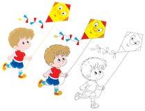 有风筝的男孩 免版税库存照片
