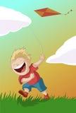 有风筝的男孩 免版税库存图片