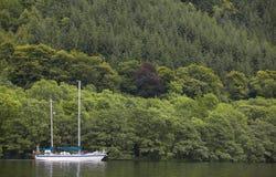 有风船的古苏格兰运河和森林在苏格兰 图库摄影