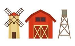 有风车的在金属立场的牛棚和锅炉 向量例证