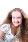 有风长期女孩的头发 库存图片