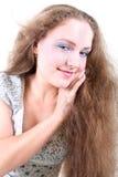 有风长期女孩的头发 库存照片