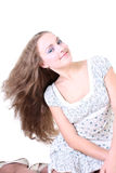 有风长期女孩的头发 免版税库存照片