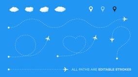 有飞机、尖和云彩的被加点的道路 与编辑可能的冲程的传染媒介形状 心脏,问题,直接和环绕 免版税库存照片