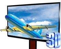 有飞机的3D LCD电视 库存照片