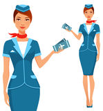 有飞机票的逗人喜爱的动画片空中小姐 免版税库存照片