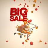 有飞溅的3D几何和大销售文本的购物车 库存照片