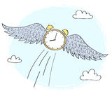 有飞行在天空的翼的动画片时钟 免版税库存照片