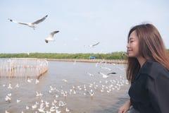 有飞行在海上的海鸥群的一名美丽的亚裔妇女有蓝天背景 免版税库存图片