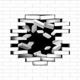 有飞行砖的残破的白色砖墙 图库摄影