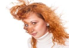 有飞行头发的女孩 库存图片