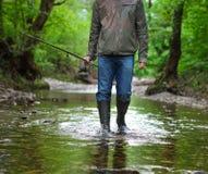 有飞鱼的渔夫在山河 春天…上升了叶子,自然本底 库存照片