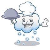 有食物雪云彩字符动画片的厨师 免版税库存照片