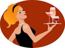 有饮料的女服务员 免版税图库摄影