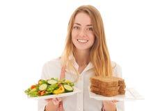 有饮食的妇女 免版税库存图片