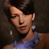 有首饰的好妇女 项链和耳环 混杂的光 免版税库存照片