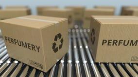 有香料厂文本移动的纸盒箱子在辊筒运输机 ??loopable 3D?? 股票录像