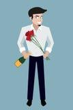 有香槟瓶的英俊的微笑的人和花导航加州 免版税库存图片