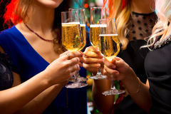 有香槟水晶玻璃的妇女的手  免版税库存图片