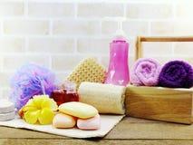 有香波的温泉辅助部件用肥皂擦洗并且淋浴奶油色卫生间产品 库存照片