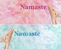 有香火横幅的Namaste祈祷的手x 2 免版税库存照片