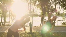 有马尾辫的两名年轻迷人的妇女行使在公园、减重、透镜火光和美丽的景色背景的 影视素材