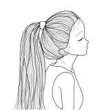 有马尾辫的手拉的逗人喜爱的女孩 库存例证图片