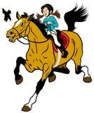 有马的动画片女孩 库存图片