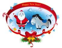 有马的圣诞老人 免版税库存照片