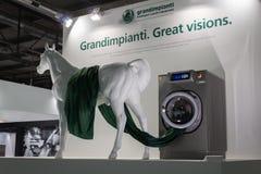 有马的洗衣机在主人在米兰,意大利 库存图片