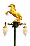 有马雕塑的灯在白色背景 免版税库存图片