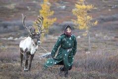 有驯鹿的Tsaatan妇女在北蒙古风景 免版税图库摄影