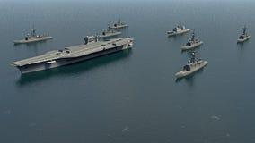 有驱逐舰和一个巡洋舰的美国航空母舰在往北部Koreaì的太平洋 库存例证