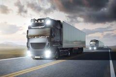 有驾驶在一条遥远的高速公路的拖车的多辆卡车通过风景在黄昏 向量例证