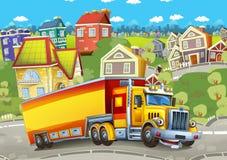 有驾驶穿过城市的拖车的动画片愉快的货物卡车 库存照片