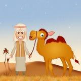 有骆驼的流浪者在沙漠 免版税库存照片