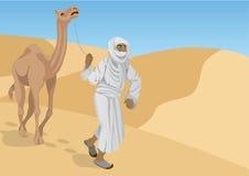 有骆驼的流浪者 免版税图库摄影