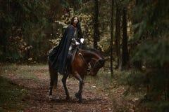 有骑一匹马的剑佩带的chainmail和装甲的一个美丽的战士女孩在一个神奇森林里 库存图片
