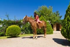 有骑她棕色白肤金发的马的红色礼服的年轻浅黑肤色的男人 免版税库存照片
